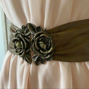 Accessories - Faux Leather Rose Belt